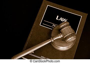juges, tribunal, livre, au-dessus, marteau, droit & loi