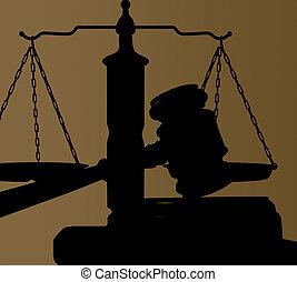 juges, tribunal, marteau, et, justice, balances, silhouette