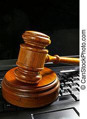 juges, tribunal, sommet, pc, clavier, marteau, ordinateur portable