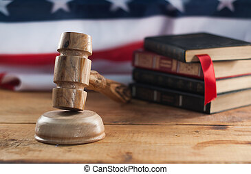 juges, usa, bois, symbole, arrière-plan., drapeau, jurisdiction., marteau