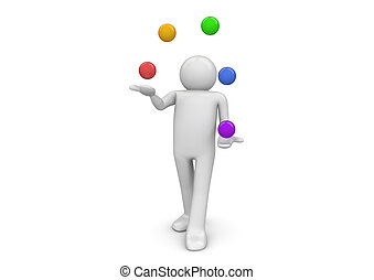 Juggler - 3d characters isolated on white background series