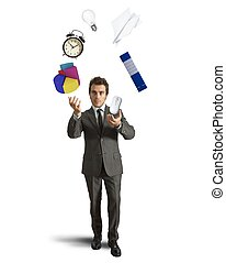 Juggler businessman playing with business object