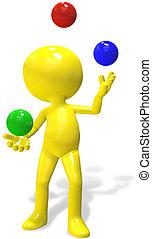 A 3d cartoon character juggles red, green, and blue balls.