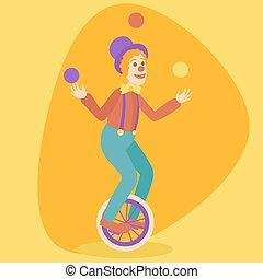 Juggler man on retro old unicycle cartoon vector