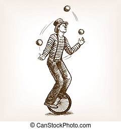 Juggler man on retro old unicycle sketch vector - Juggler...