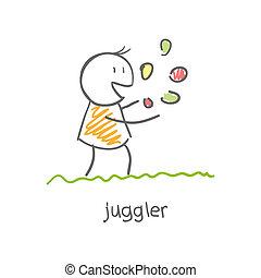 juggler playing with balls