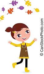jugglery, 女の子, 葉, 隔離された, かわいい, 秋, 白