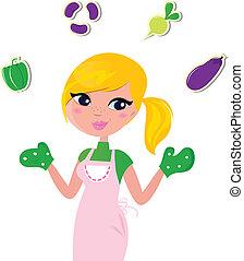 jugglery, cottura, isolato, verdura, madre, bianco