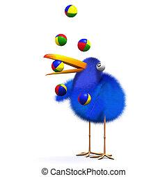 juggles, bluebird, 3d