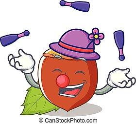 juggling, avelã, mascote, caricatura, estilo