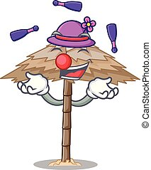 Juggling beautiful beach shelter sand isolated cartoon...
