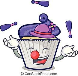 Juggling blueberry cupcake mascot cartoon