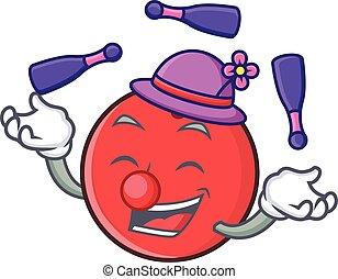 Juggling bowling ball character cartoon