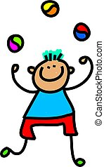 juggling boy - Whimsical drawing of a happy little boy...