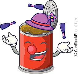 Juggling canned food on the tablecloth cartoon