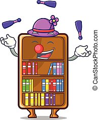 Juggling cartoon bookcase in the study room