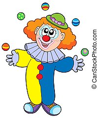 Juggling cartoon clown - isolated illustration.