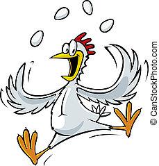 Juggling Chicken - A cartoon chicken juggling eggs. Vector...