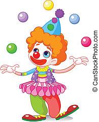 Cute funny juggling clown
