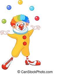 Juggling Clown - Illustration of Cute funny juggling clown