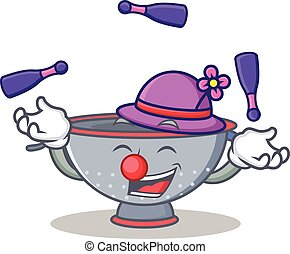 Juggling colander utensil character cartoon vector...