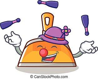Juggling dustpan character cartoon style
