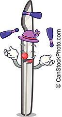 juggling, estilo, bisturi, caricatura, mascote