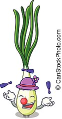 Juggling fresh scallion isolated on the mascot vector...