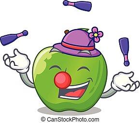 Juggling green smith apple isolated on cartoon