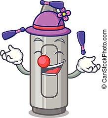 Juggling grey crayon in a bag cartoon