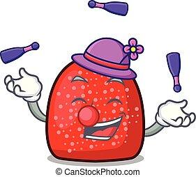 Juggling gumdrop mascot cartoon style vector illustration