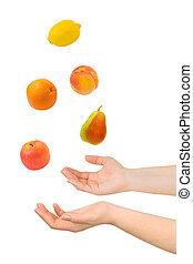 juggling, handen, en, vruchten