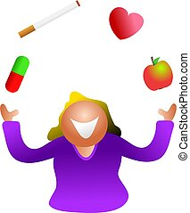 juggling health - woman juggling with health issues. How...