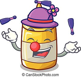 Juggling homemade mustard sauce in cartoon bottle