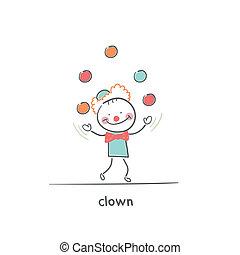 juggling., illustration., clown