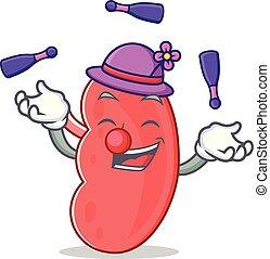 Juggling kidney mascot cartoon style