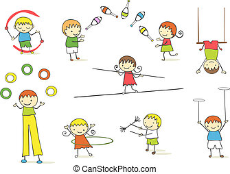 juggling kids - collection of cute cartoon juggling kids