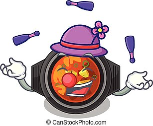 Juggling kimchi tighe above the cartoon table vector...