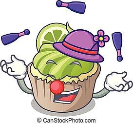 Juggling lemon cupcake mascot cartoon
