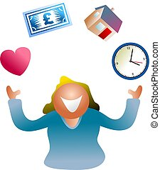juggling life - woman juggling home, time, money and love...