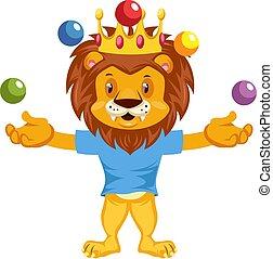 Juggling lion, illustration, vector on white background.