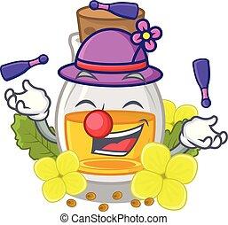Juggling mustard oil in the cartoon shape