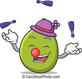 Juggling olive mascot cartoon style