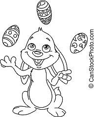 juggling, ovos, páscoa, esboçado, coelhinho