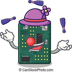 Juggling PCB circuit board in the cartoon vector...