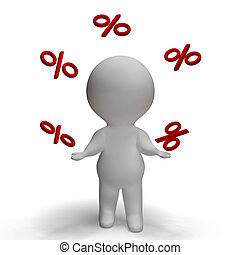 Juggling Percent Sign With 3d Man Climbing Showing...