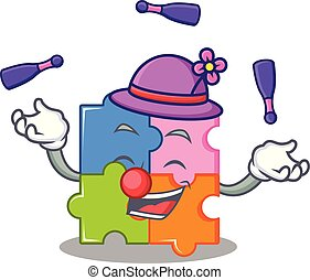 Juggling puzzle mascot cartoon style