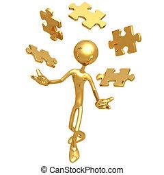 Juggling Puzzle Pieces - 3D Concept And Presentation Figure