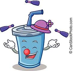 Juggling soda drink character cartoon