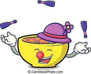 Juggling soup union mascot cartoon